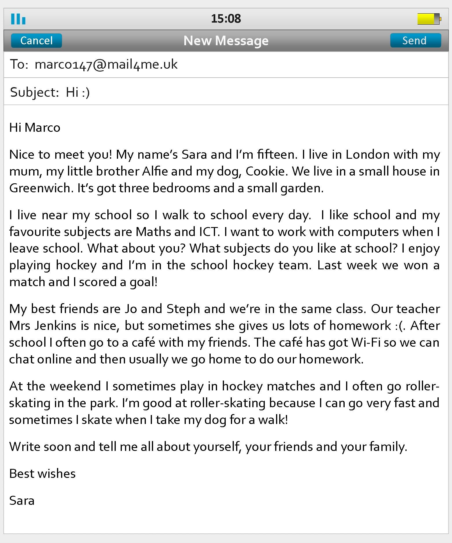 have a look at this email to a sara to her penfriend marco read