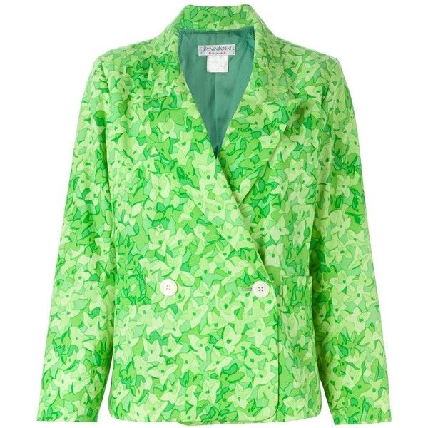 Yves Saint Laurent Vintage Floral Print Blazer ($430) ❤ liked on Polyvore featuring outerwear, jackets, blazers, green, floral jacket, vintage jacket, long sleeve jacket, cotton jacket and floral print blazer