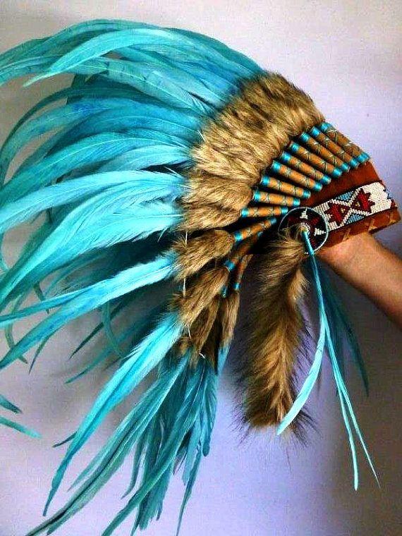Turquoise Feathers Indian Inspired Boho Headdress Native American War Bonnet