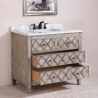 Legion Furniture Volakas Antique Light Grey White Marble Top 40 Inch