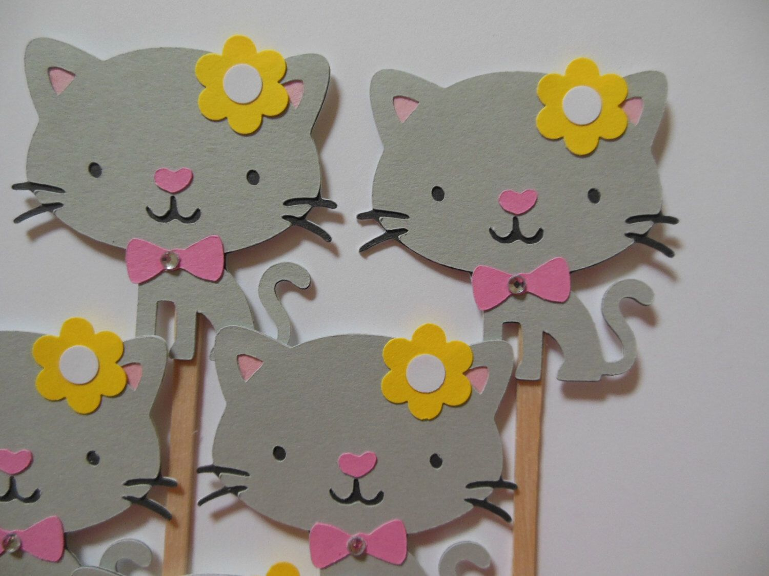 Kitty Cat Cupcake Toppers - Gray and Pink - Girl Birthday Party Decorations - Girl Baby Showers - Set of 6 by Whimsiesbykaren on Etsy https://www.etsy.com/listing/245519764/kitty-cat-cupcake-toppers-gray-and-pink