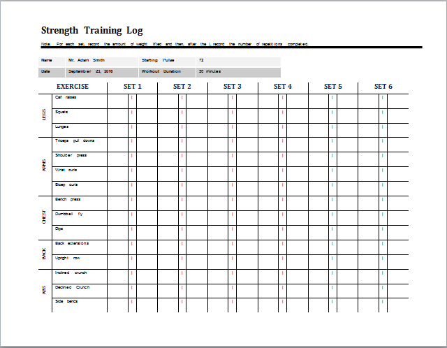 daily strength training log template at worddocuments – Training Log Template