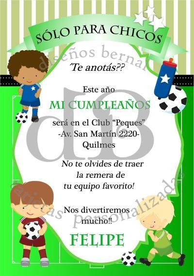 Invitaciones Fútbol tarjetas infantiles para cumpleaños Tarjetas de Cumpleaños Pinterest