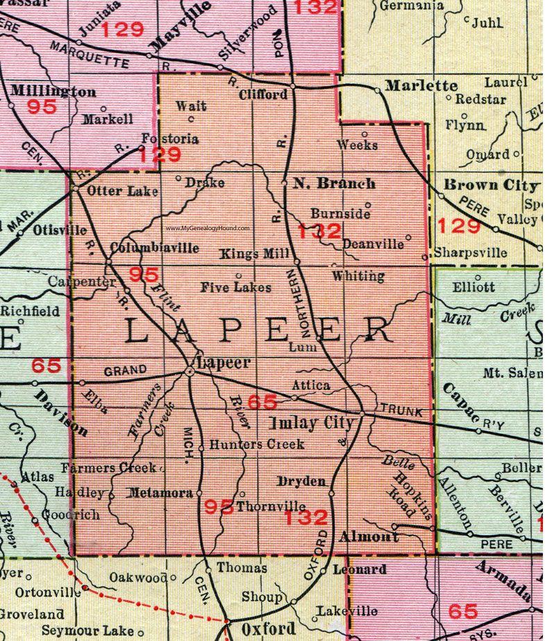 Lapeer County Michigan 1911 Map Rand Mcnally Imlay City North