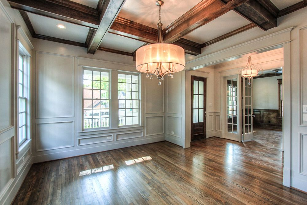Superb The Large Formal Dining Off The Foyer Showcases The Builderu0027s Signature  Millwork And Finishes: Floor To Ceiling Wood Paneling, Coffered Ceiling  With Stained ... Nice Design