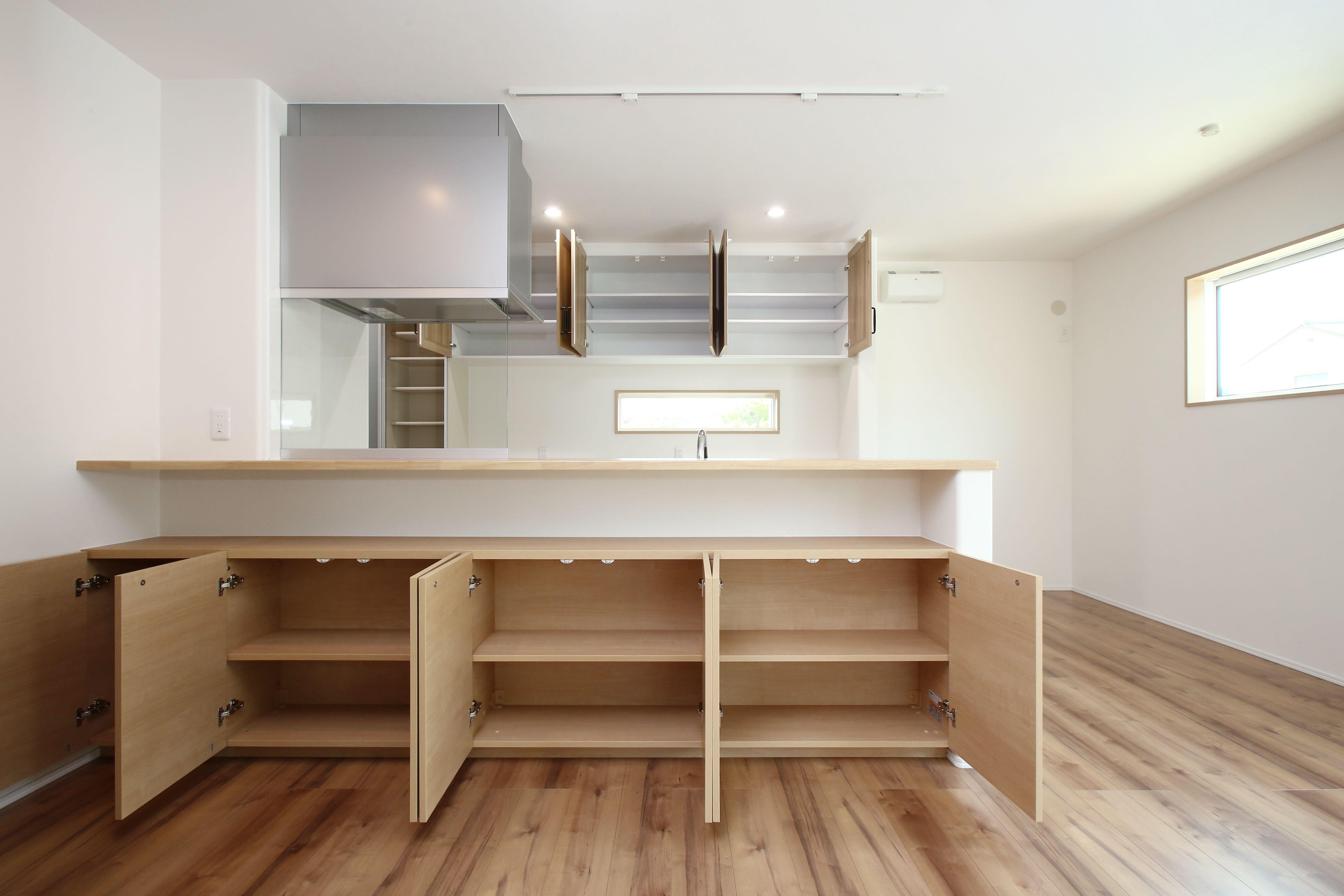 キッチン前カウンターと収納 アイフルホーム 収納 キッチン
