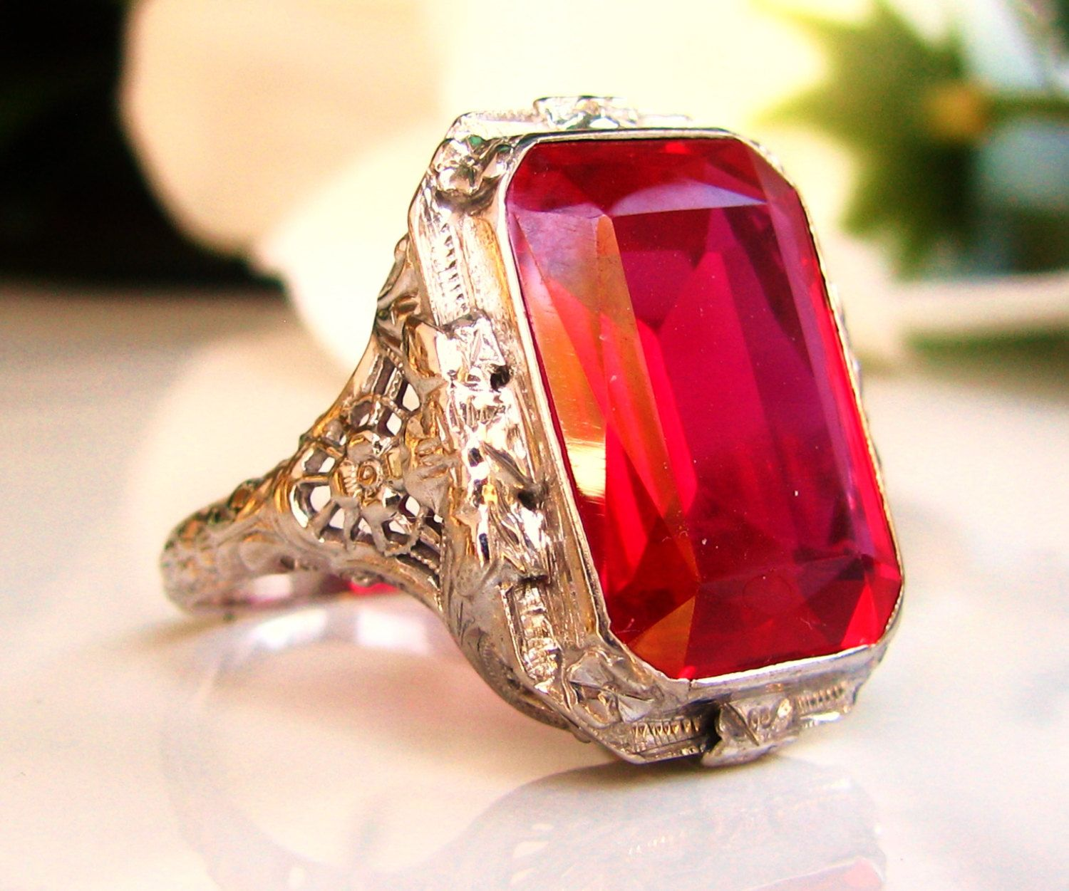 emerald rings differences between the real and synthetic. Large Antique Style Emerald Cut Ruby Ring 3.79ct Synthetic Alternative Engagement 14K White Gold Filigree Size 8.25! By LadyRoseVintageJewel Rings Differences Between The Real And E
