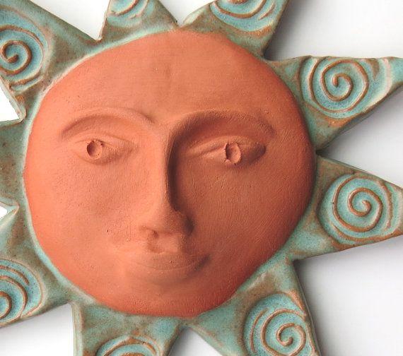 Ceramic ~Ceramic Wall Art ~Pottery Sun ~Terracotta Sun Face ~Spirals ~small