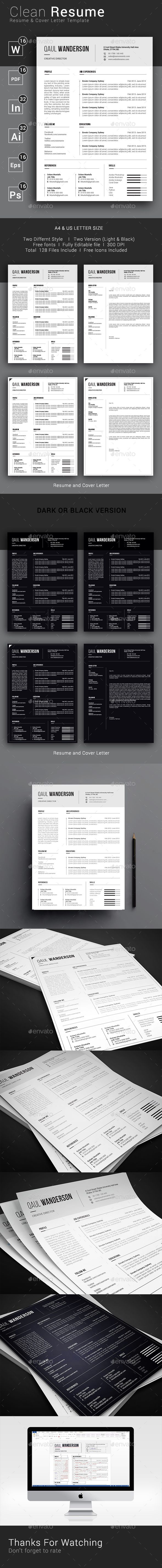 Clean Resume / CV Template PSD, Vector EPS, InDesign INDD, AI ...