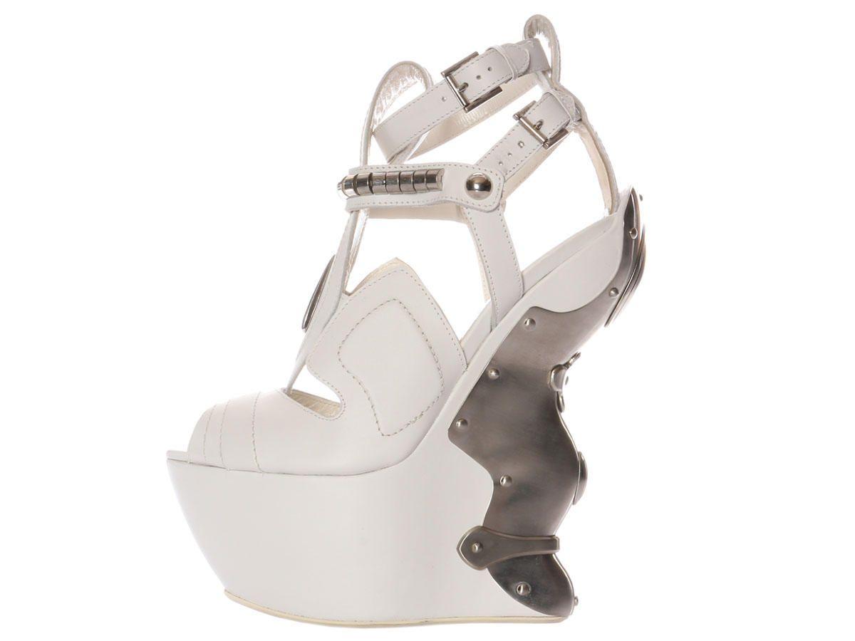 Alexander McQueen 2011 White Metal Wedge Runway Sandals