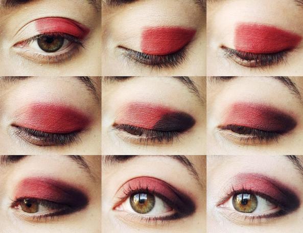 maquillaje rojo con negro en los ojos