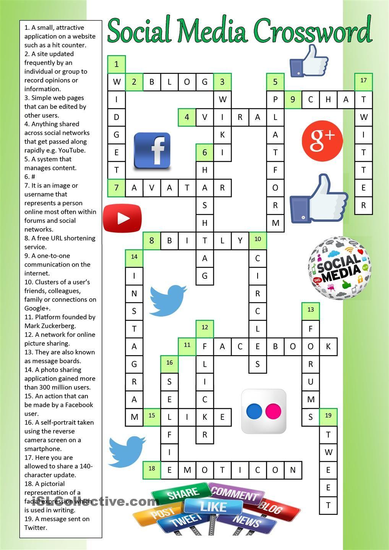 Social Media Crossword (Key) | ESL worksheets of the day | Pinterest ...