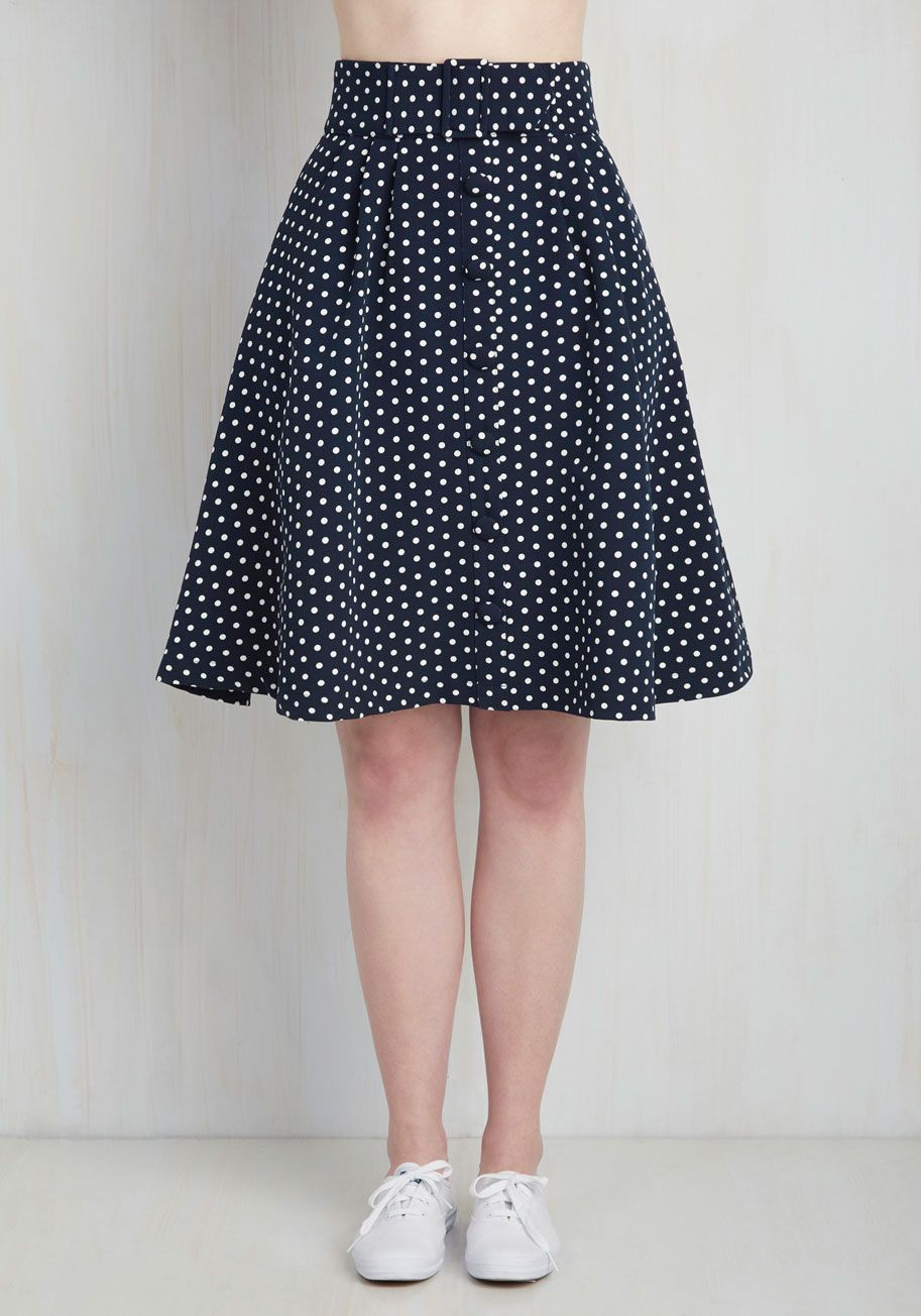 e84b3b4735f Intern of Fate Skirt in Navy Dots. With a confident strut and clad in this  profesh midi