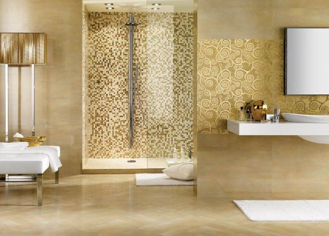 everything about this bath is beautiful from the mosaic in the shower to the white bench - Mosaic Bathroom Designs