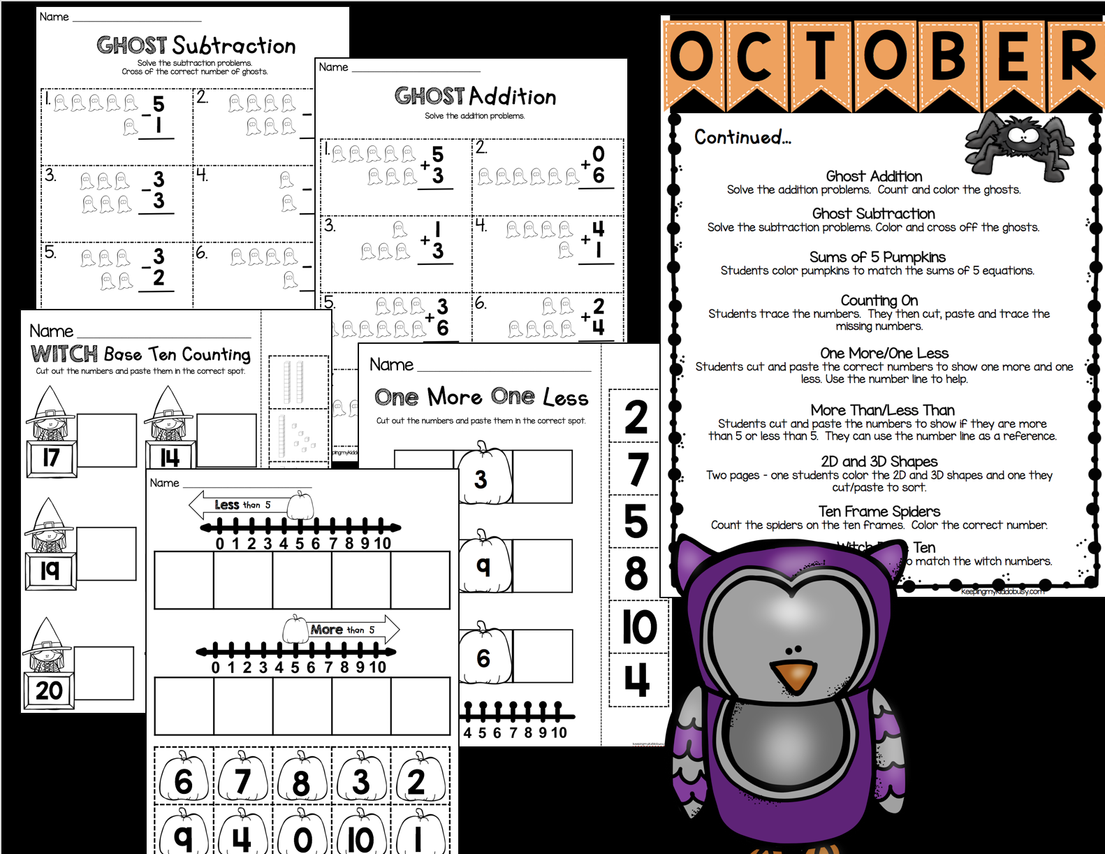 October Math And Literacy Pack