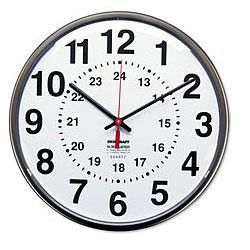 Amazon Com Skilcraft 6645 01 491 9814 Plastic Atomic Slimline Wall Clock With White Face 12 3 4 Inch Diameter Black Office Products