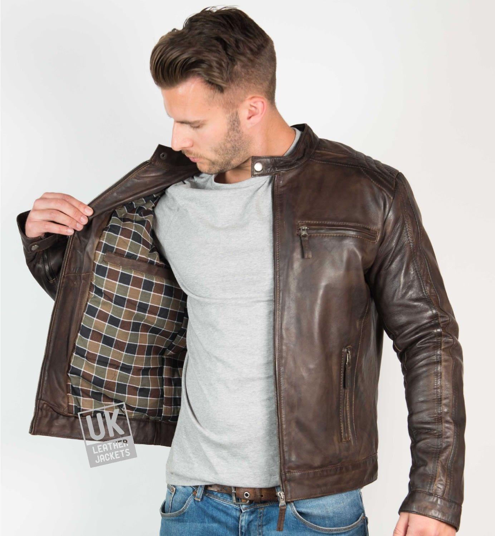 Mens Vintage Brown Leather Jacket Mustang UK LJ in