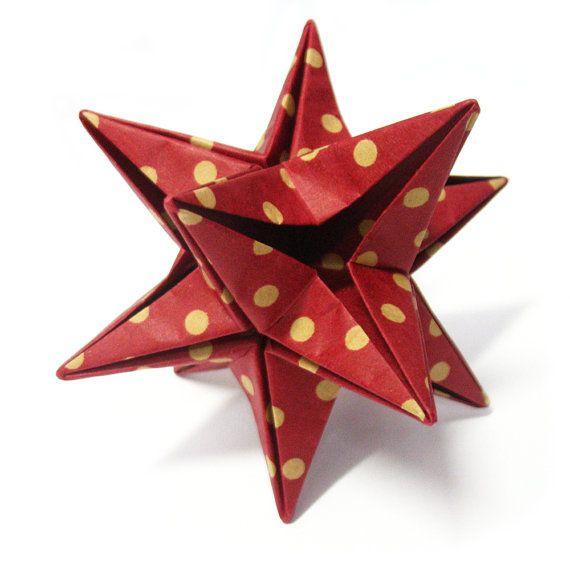 Origami Santa Ornament: Origami Ornament Paper Star Handmade Brown By