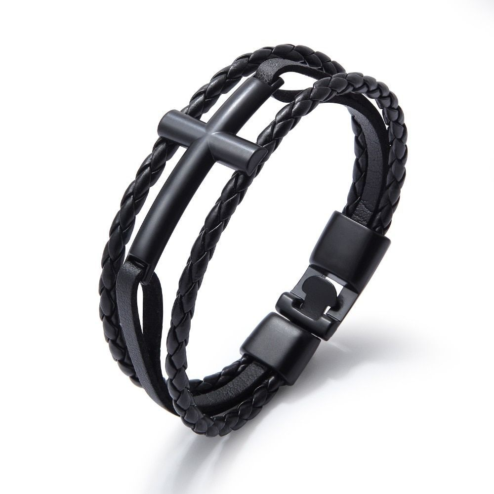 Trendy Men Bangle Blue Concise Leather Bracelet Braided For Male Accessories