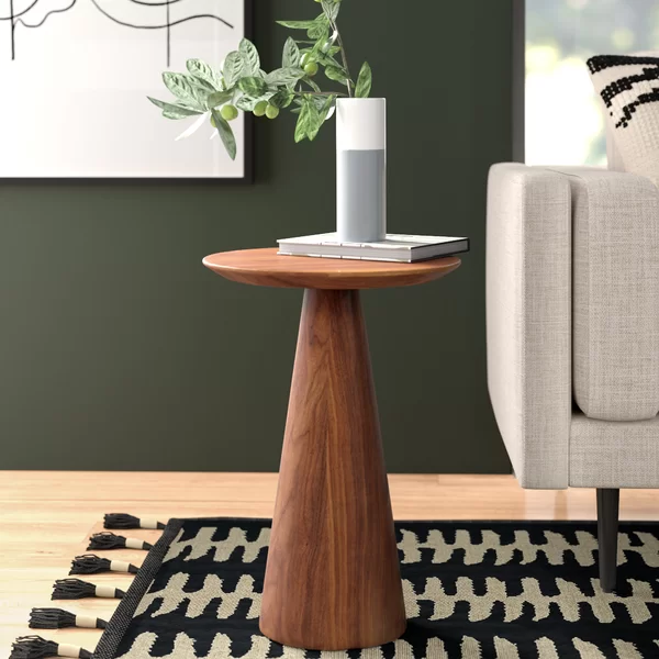 This End Table S Small Footprint Makes It A Great Fit In Small Spaces The Conical Base Flares At The Bottom And Tapers T Side Table Wood End Tables Side Table