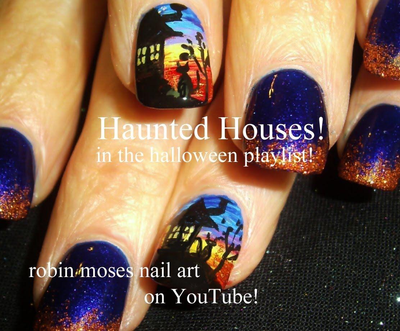 Nail Art Tutorial | DIY Halloween Nails | Haunted House Design ...