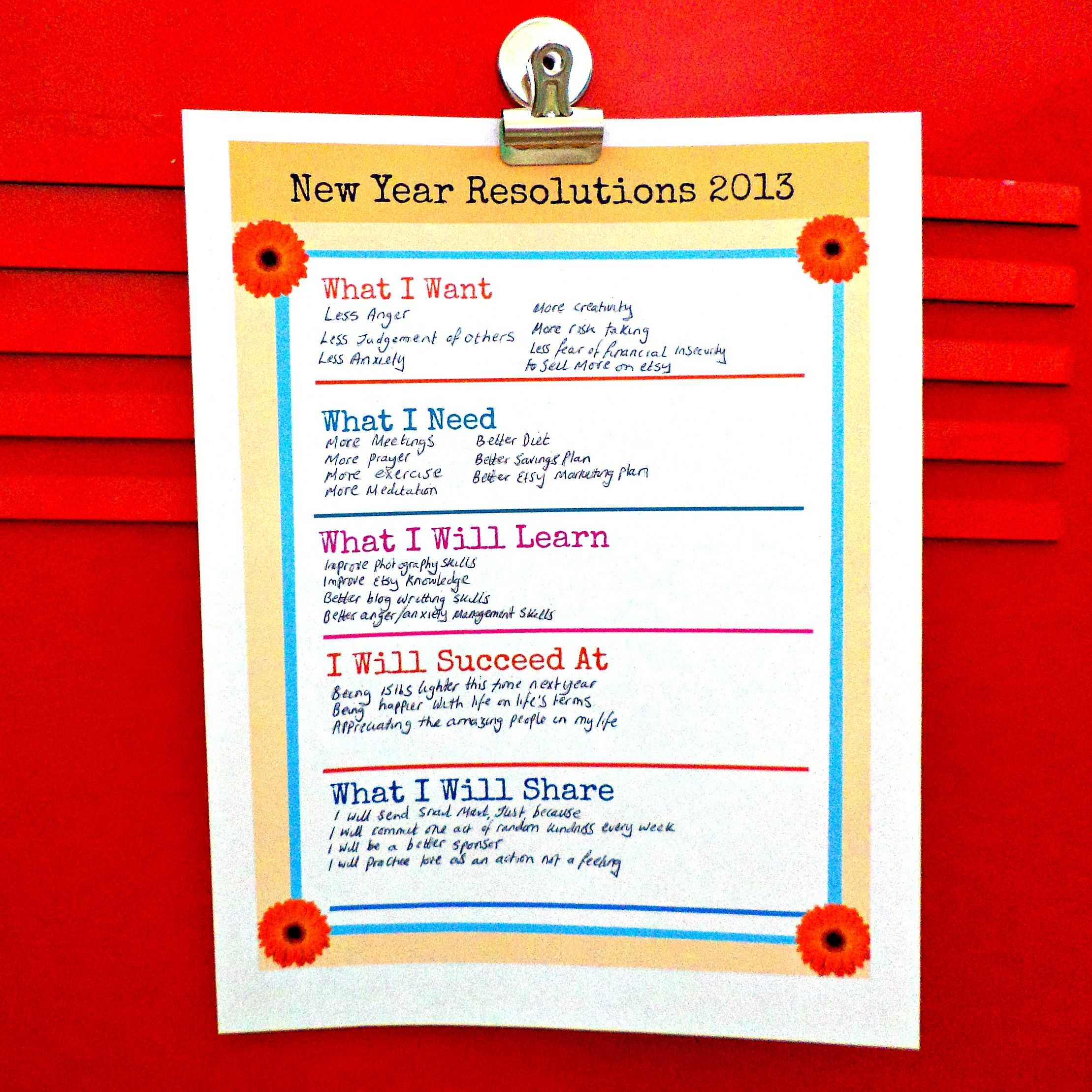 Goals And Resolutions Worksheet Printable