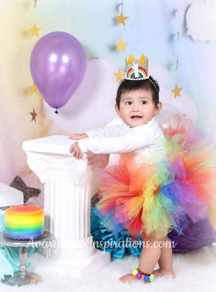 Rainbow Girls Tutu, First Birthday Tutu Outfit, Rainbow ...