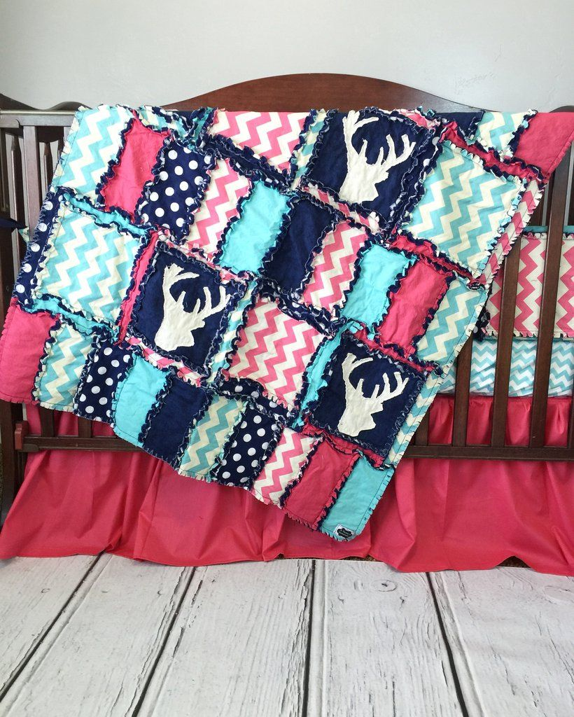 Turquoise and pink bedding - Woodland Baby Girl Crib Bedding Turquoise Pink Navy
