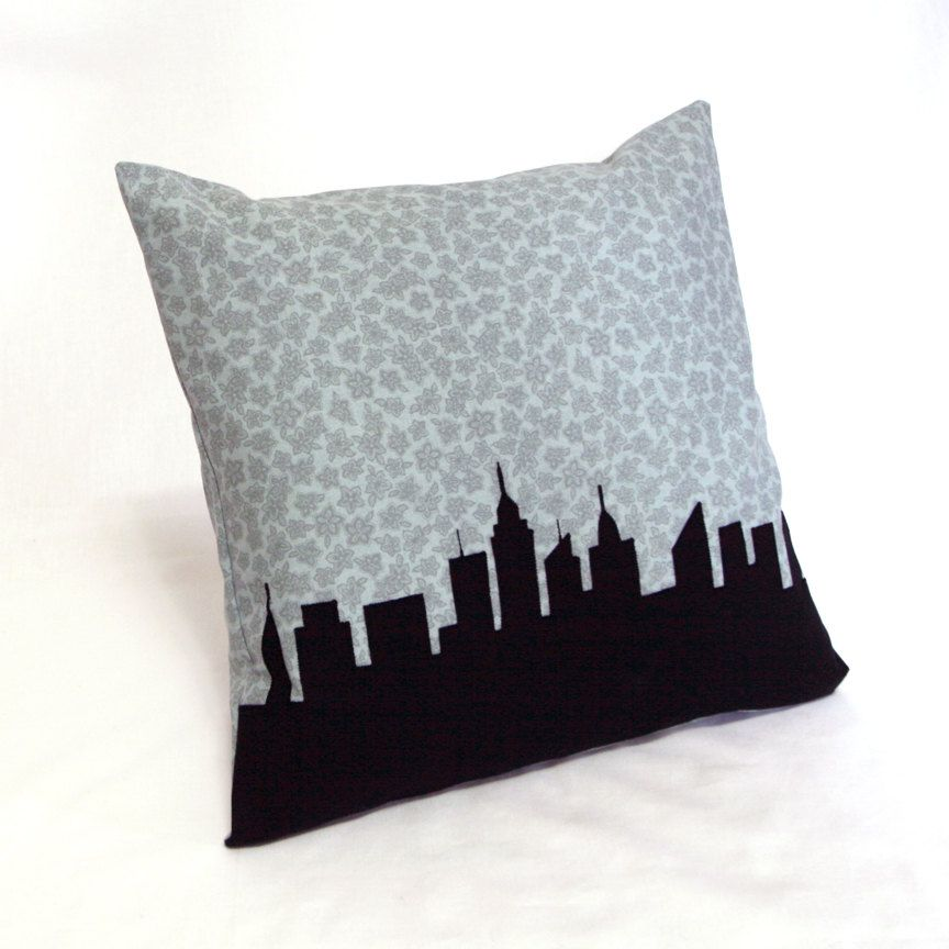 Sale new york city skyline pillow blue gray floral print black city silhouette urban landscape throw pillow