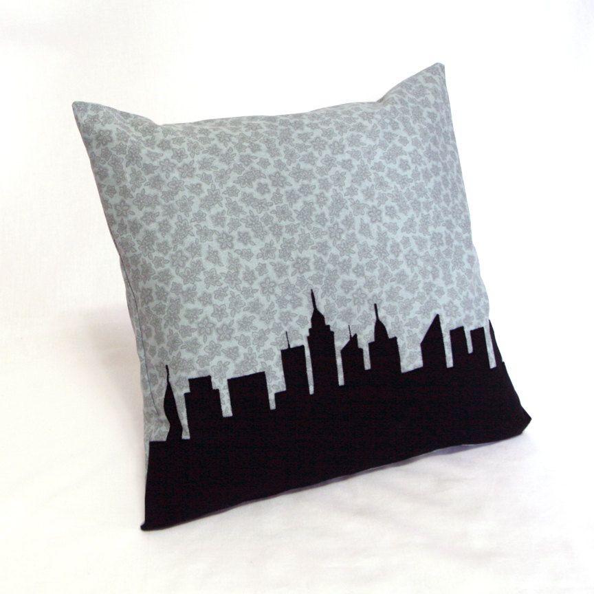 Sale new york city skyline pillow blue gray floral print black city silhouette urban landscape throw pillow