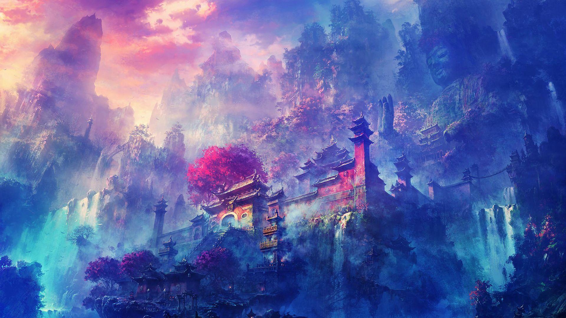 Hidden Temple 1920 X 1080 Anime Scenery Anime Wallpaper Hd Anime Wallpapers Desktop wallpaper anime art