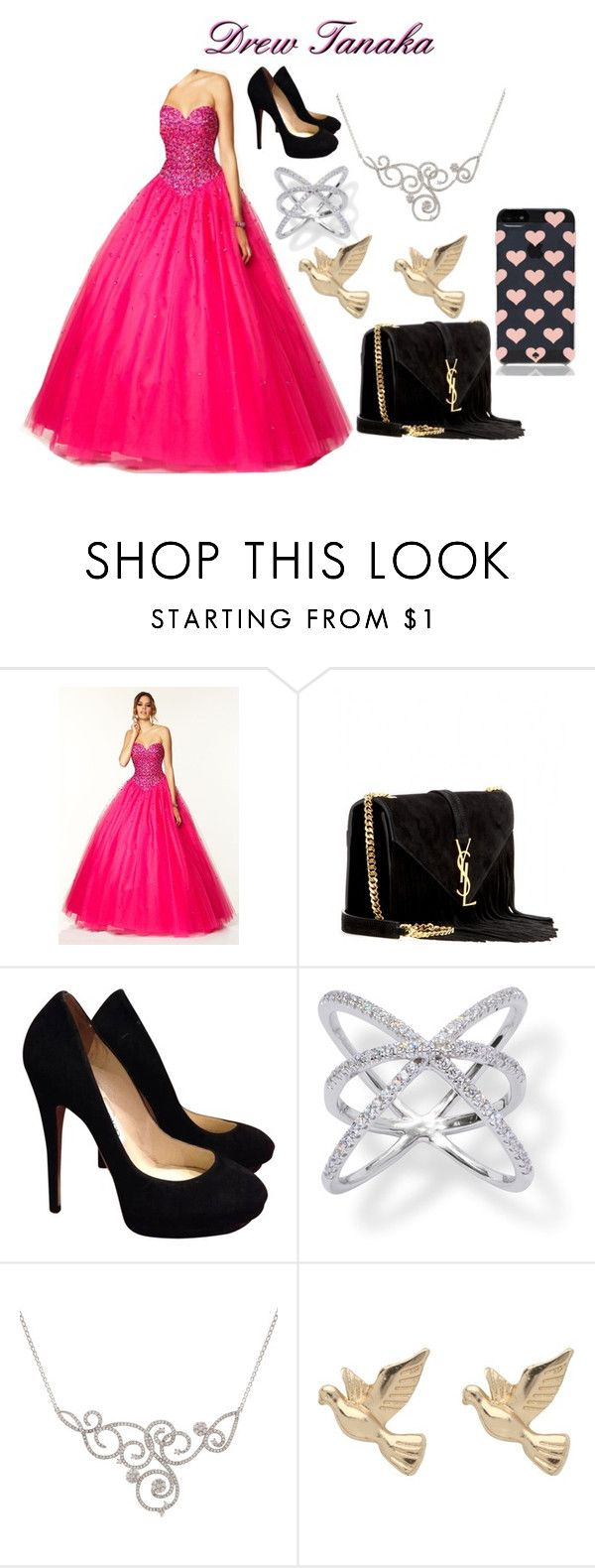 """Drew Tanaka at Prom"" by hope-257 ❤ liked on Polyvore featuring Yves Saint Laurent, Jimmy Choo, M&Co and Kate Spade"