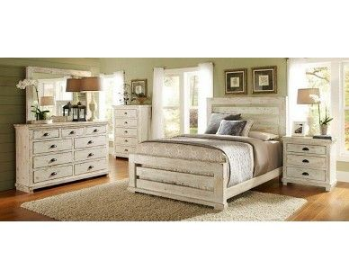Charmant 6 Piece Queen Slat Bedroom   Distressed White   Sam Levitz Furniture