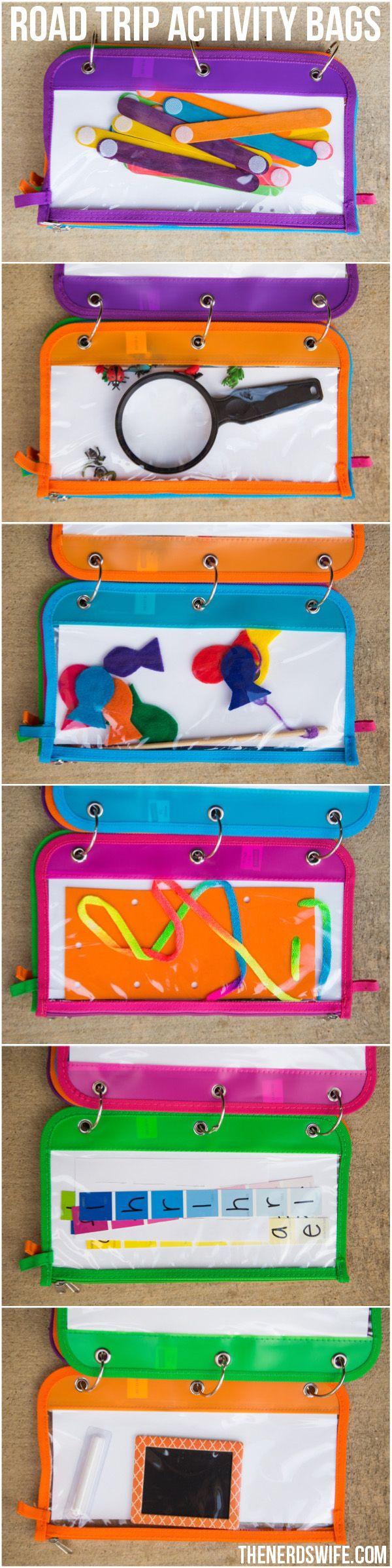 road trip activity bag ideas creative ideas for summer pinterest autofahrt spielideen und. Black Bedroom Furniture Sets. Home Design Ideas