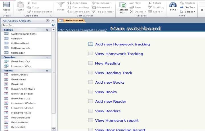Access Book Reading and Homework Tracking Database Templates ...