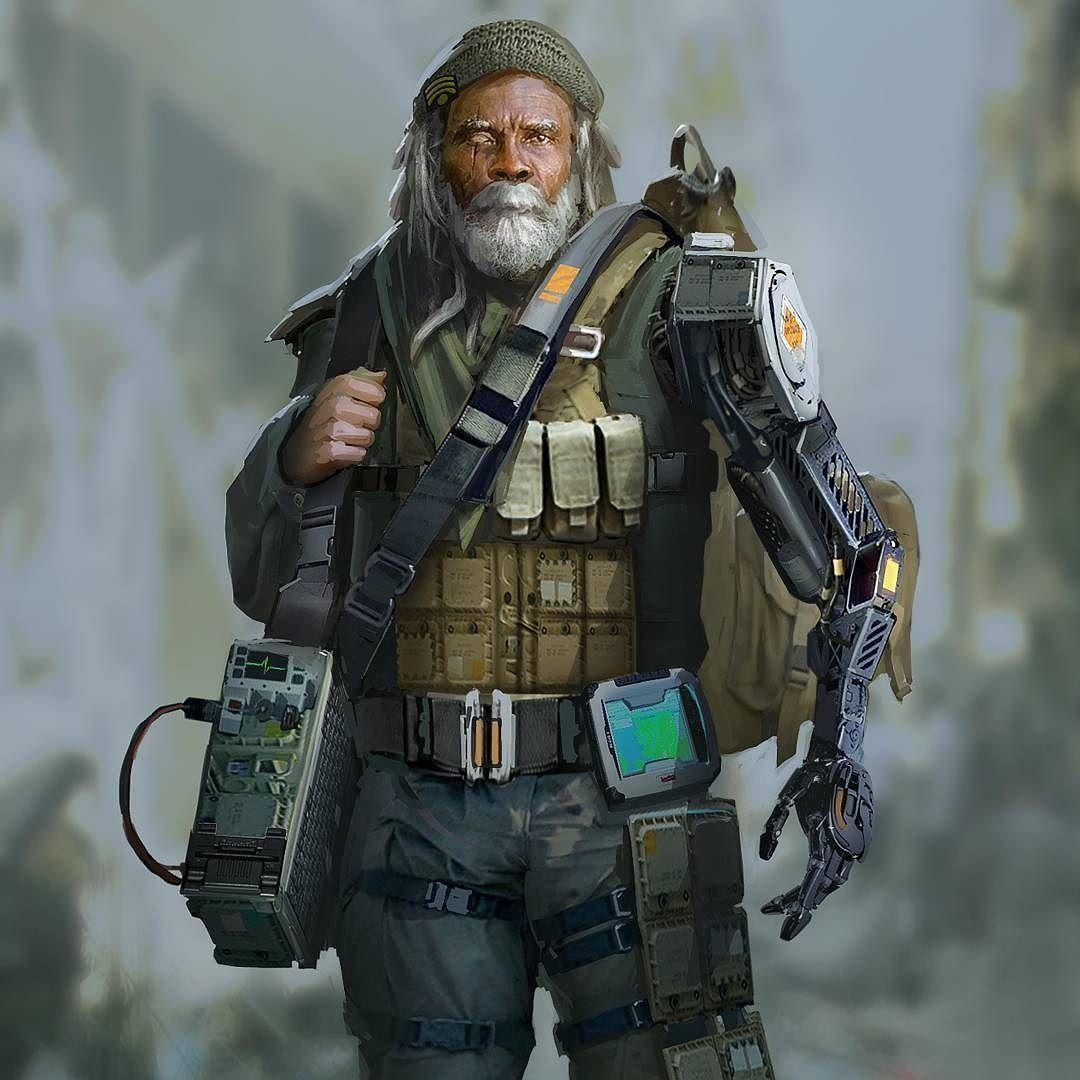 Resultado de imagem para old man cyborg drawing