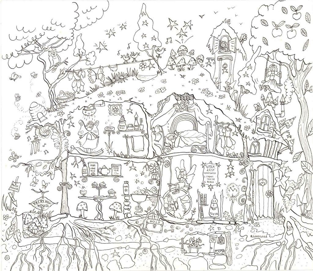 Fairy Jpg 1 024 886 Pixels With Images House Colouring Pages Coloring Pages Giant Poster