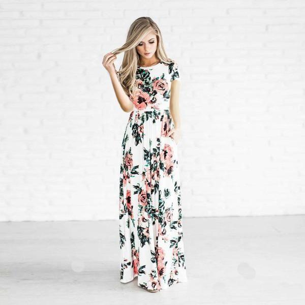 02957e0cd16f Summer Women Floral Print Short Sleeve Empire Waist Boho Dresses Femme  Vestidos Ladies Evening Party Long Beach Maxi Dress