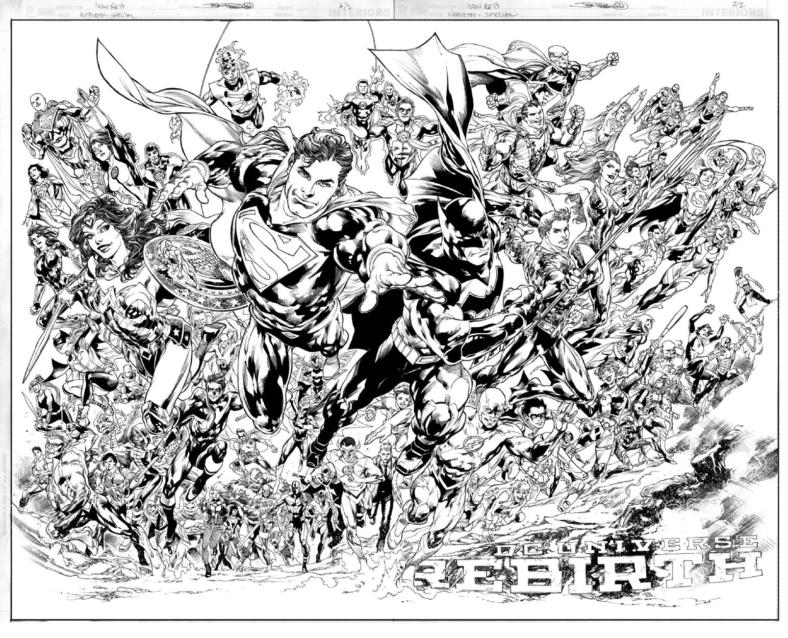 DC Universe Rebirth Heroes pinup Superman Wonder Woman Batman ...