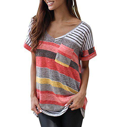 Flying Rabbit Tee Shirt Femme Manche Courte Casual Été Col V Rayures  Colorées Mode Haut Top