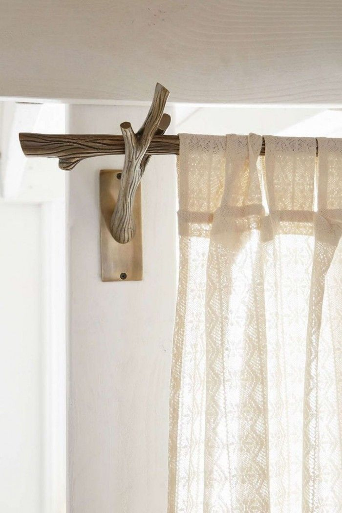 Reclaimed Wood Rustic Style Curtain Rod Forest Bedroom Branch