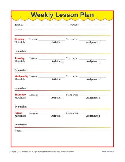Weekly Detailed Lesson Plan Template - Elementary Weekly lesson - sample evaluation plan