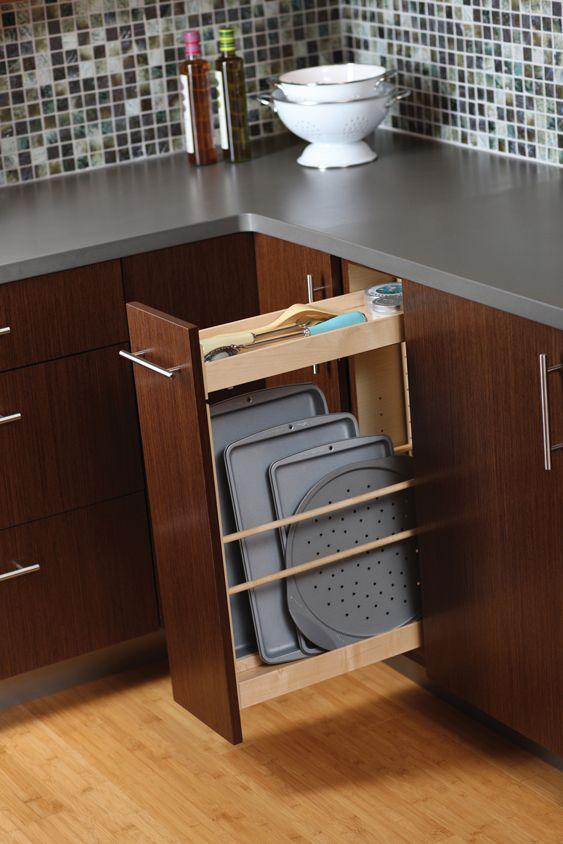 Pull Out Tray Storage Is Perfect For Cookie Sheets Pizza Pans And Other Trays