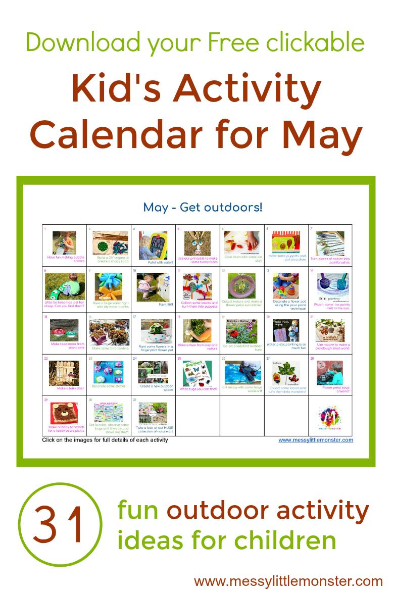 Outdoor Kids Activity Calendar 31 Fun Outdoor Activity Ideas