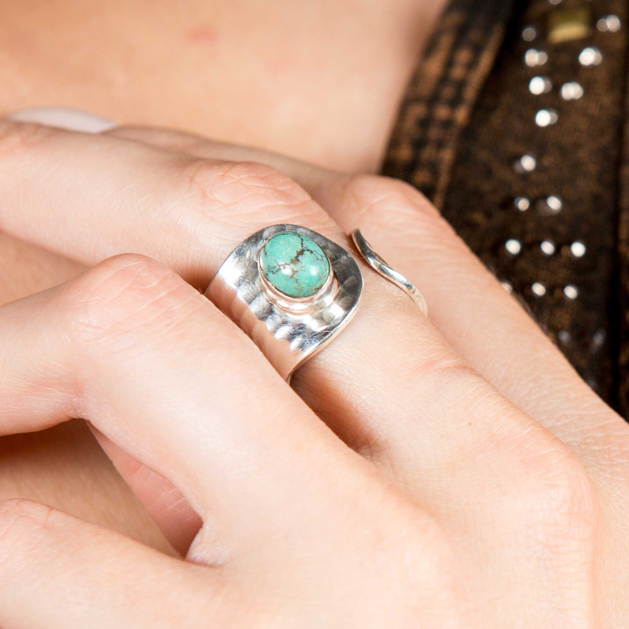 Turquoise and Sterling Silver Adjustable Ring