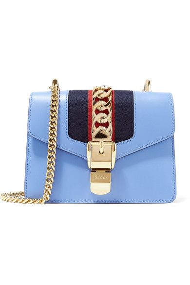 ff83a7845fc7d Gucci - Sylvie Mini Chain-embellished Leather Shoulder Bag - Blue - one size