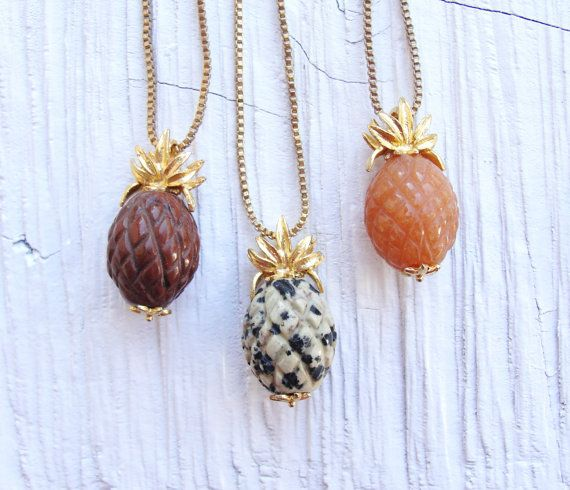 Pineapple necklaces!!! I love this! And using different colored stones for the fruit part is so clever!