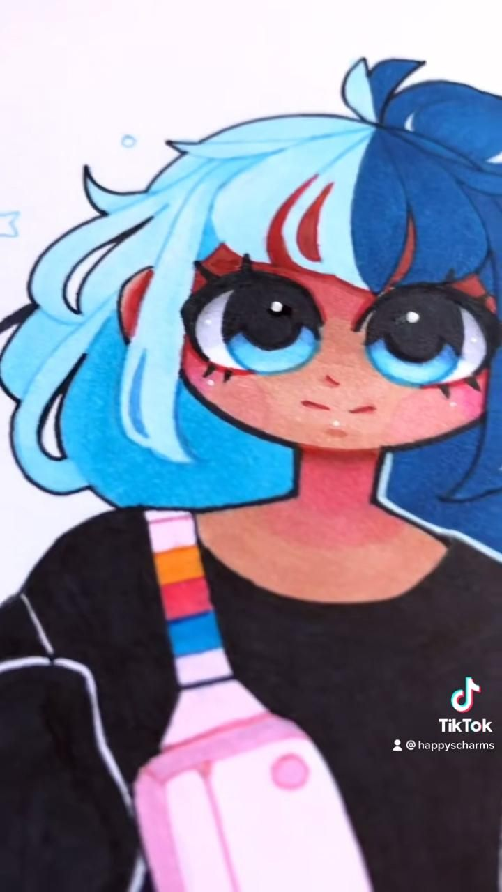Photo of Blue Hair Girl Drawing
