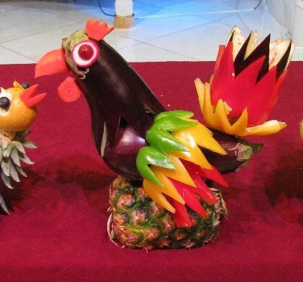 Mixed media artist filipino fruit and vegetable carving comida