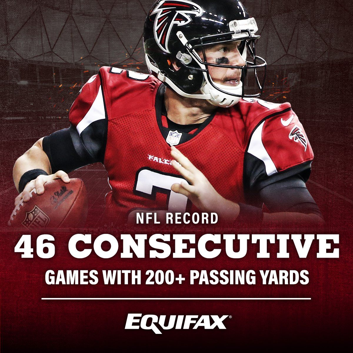 Matt Ryan Has Just Broken An Nfl Record By Throwing For 200 Passing Yards In 46 Consecutive Games With Images Atlanta Falcons Logo Atlanta Falcons Pictures Atlanta Falcons Matt Ryan